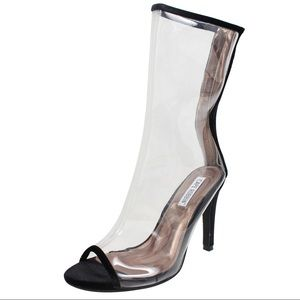 Shoes - Clear Lucite stiletto mid calf dressy boot heels